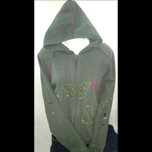 Switch USA Embroidered Army Green Hoodie Sequins L